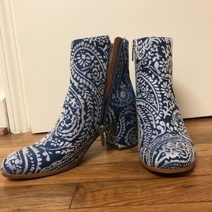 Blue Paisley Booties